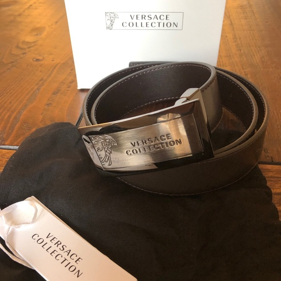 Versace Collection Mens Leather Belt